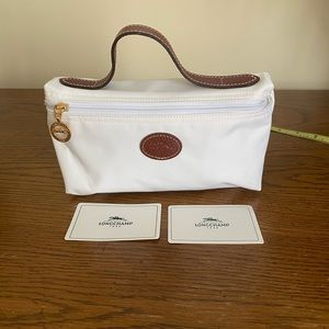 NWOT Longchamp ivory with tan small bag